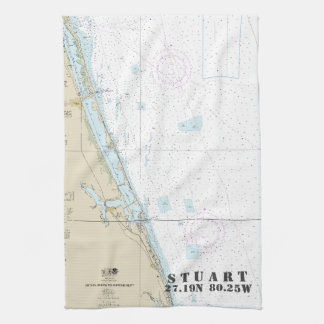 Stuart Florida Nautical Chart Latitude Longitude Kitchen Towel