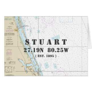 Stuart Florida Nautical Navigation Chart Boater's Card