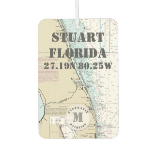 Stuart Martin Florida Nautical Chart Monogram Car Air Freshener