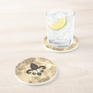 Stubborn Bar | Sepia Brown Fleur de Lis Butterfly Coaster