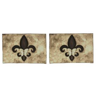Stubborn Bed | Sepia Brown Butterfly Fleur de Lis Pillowcase