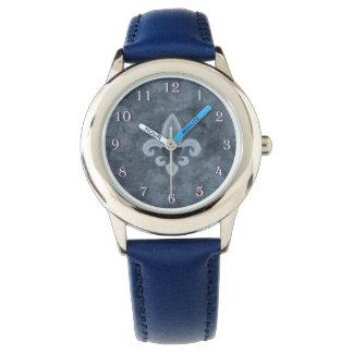 Stubborn Bling   Denim Blue Fleur de Lis Butterfly Wristwatch