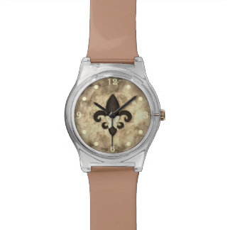 Stubborn Bling | Sepia Butterfly Fleur de Lis | Watch