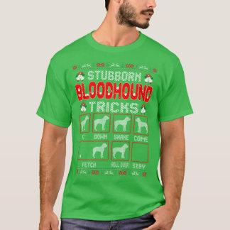 Stubborn Bloodhound Dog Tricks Christmas Ugly Tees