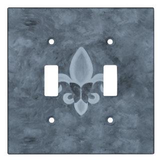 Stubborn Decor | Denim Blue Fleur de Lis Butterfly Light Switch Cover