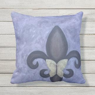 Stubborn Decor Periwinkle Butterfly Fleur de Lis Throw Pillow