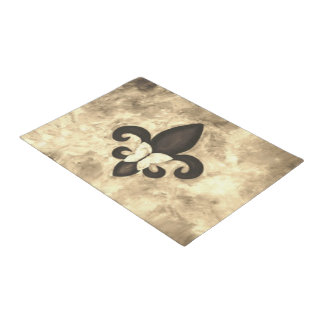 Stubborn Decor | Sepia Brown Butterfly Fleur d Lis Doormat
