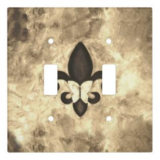 Stubborn Decor | Sepia Brown Butterfly Fleur d Lis Light Switch Cover