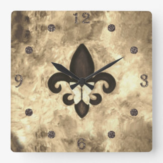 Stubborn Decor | Sepia Brown Butterfly Fleur d Lis Square Wall Clock