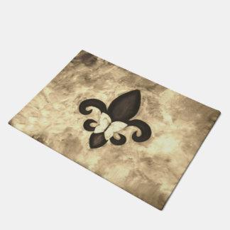 Stubborn Decor Sepia Brown Butterfly Fleur de Lis Doormat