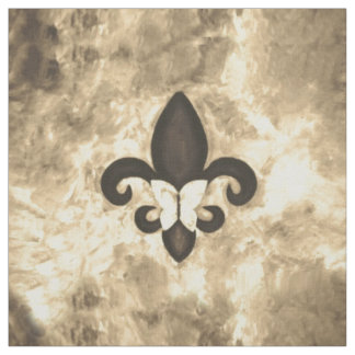 Stubborn Fabric | Sepia Brown Butterfly Fleur Lis
