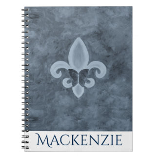 Stubborn Office | Denim Blue Butterfly Fleur Lis Notebooks