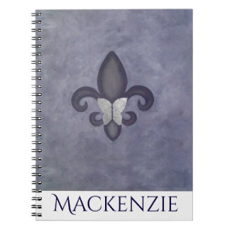 Stubborn Office | Purple Name Butterfly Fleur Lis Notebooks