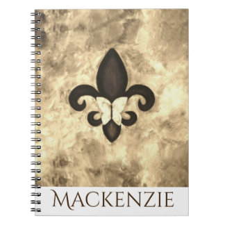 Stubborn Office | Sepia Brown Butterfly Fleur Lis Notebook