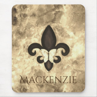 Stubborn Office | Sepia Name Fleur Lis Butterfly Mouse Pad