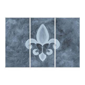 Stubborn Original Denim Blue Fleur d Lis Butterfly Canvas Print