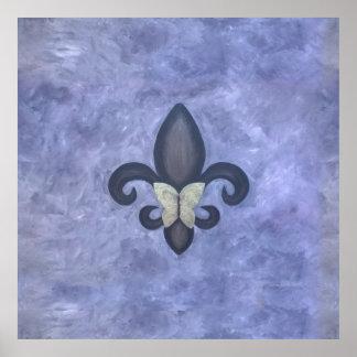 Stubborn Periwinkle Blue Butterfly Fleur de Lis Poster