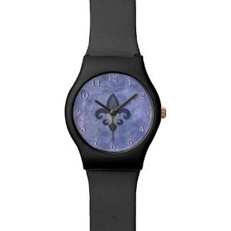 Stubborn Periwinkle Blue Butterfly Fleur de Lis Watches