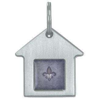 Stubborn Purple Silver Fade Butterfly Fleur de Lis Pet Name Tag