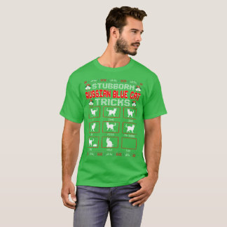 Stubborn Russian Blue Cat Tricks Christmas Ugly T-Shirt