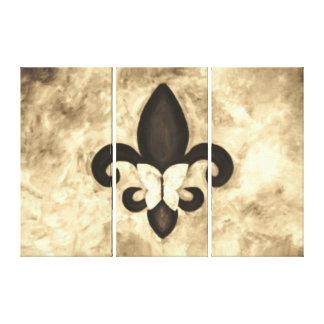 Stubborn Sepia Antique Brown Butterfly Fleur d Lis Canvas Print