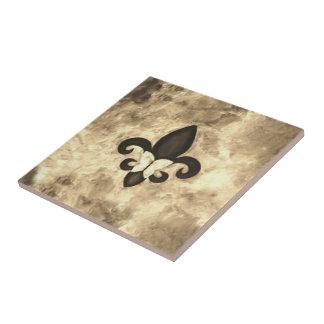 Stubborn Sepia Antique Brown Butterfly Fleur d Lis Ceramic Tiles
