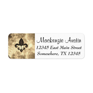Stubborn Sepia Antique Brown Butterfly Fleur d Lis Return Address Label