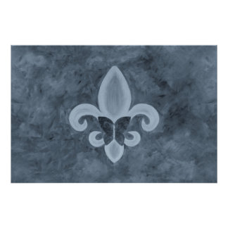 Stubborn Smoky Denim Blue Fleur de Lis Butterfly Poster