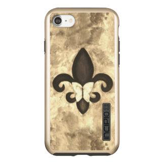 Stubborn Tech | Sepia Brown Butterfly Fleur de Lis Incipio DualPro Shine iPhone 8/7 Case