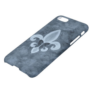 Stubborn Trendy Denim Blue Fleur de Lis Butterfly iPhone 7 Case