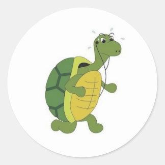 stubborn turtle classic round sticker
