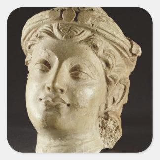 Stucco head, Gandhara, 4th century AD Square Sticker
