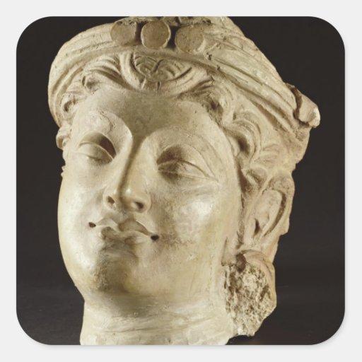 Stucco head, Gandhara, 4th century AD Square Stickers