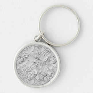 Stucco Pattern Silver-Colored Round Keychain