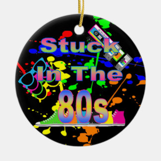 Stuck in the 80s round ceramic ornament