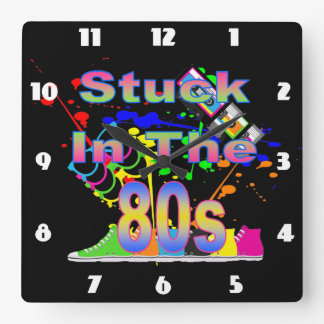 Stuck in the 80s square wall clock
