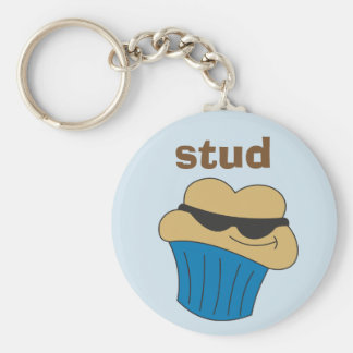 Stud Muffin Humorous Key Ring for Him Basic Round Button Keychain