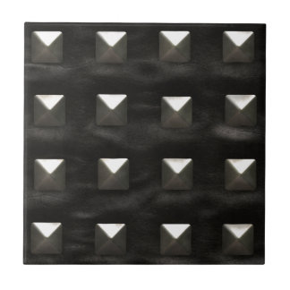 Studded Black Leather Tile