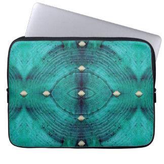 Studded Floor Pattern in Aqua Blues Laptop Sleeve