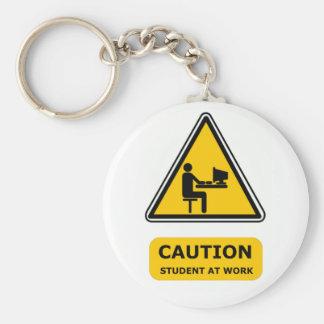 Student at work keyring basic round button keychain