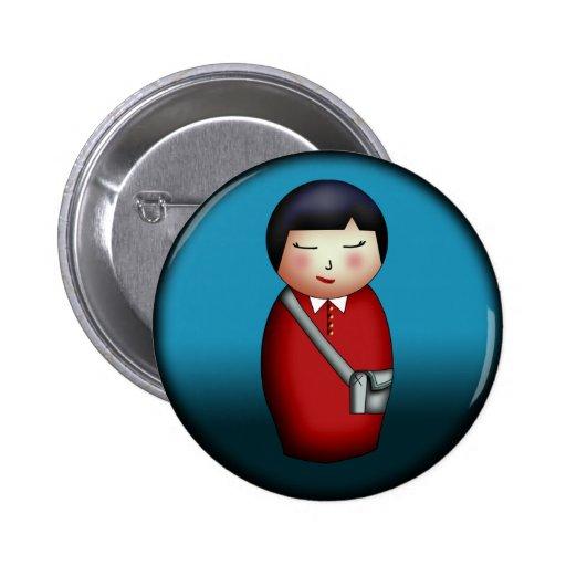 Student Kokeshi, button
