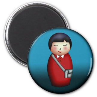 Student Kokeshi round magnet Refrigerator Magnets
