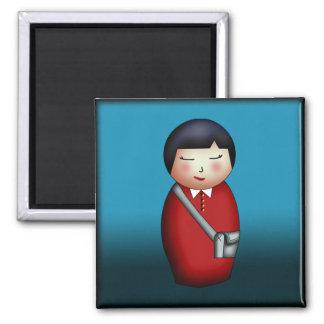 Student Kokeshi, square magnet Magnet