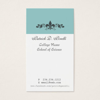 Student Minimal Fleur-de-lis Blue White Modern Business Card