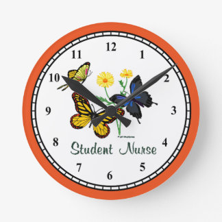 Student Nurse Butterflies Wall Clock