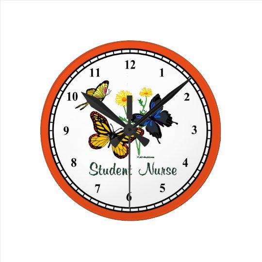 Student Nurse Butterflies Wall Clock