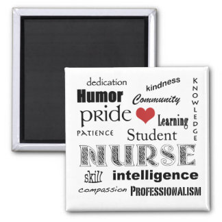 Student Nurse Pride Attributes-Black/White+heart Square Magnet