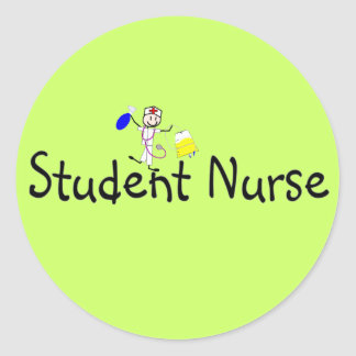 Student Nurse Stick Person Round Sticker
