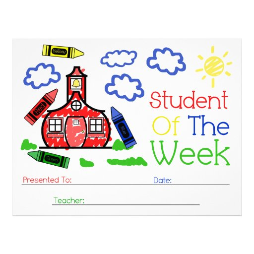 Student of the week award schoolhouse crayons for Student of the week certificate template free