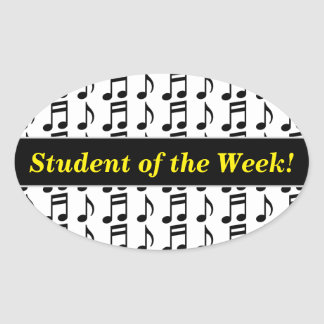 """Student of the Week!"" + Grid of Musical Notes Oval Sticker"